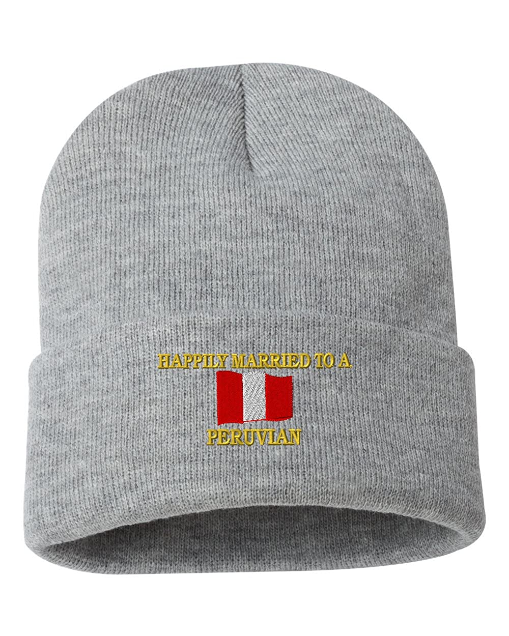 HAPPILY MARRIED TO A PERUVIAN Custom Personalized Embroidery Embroidered Beanie