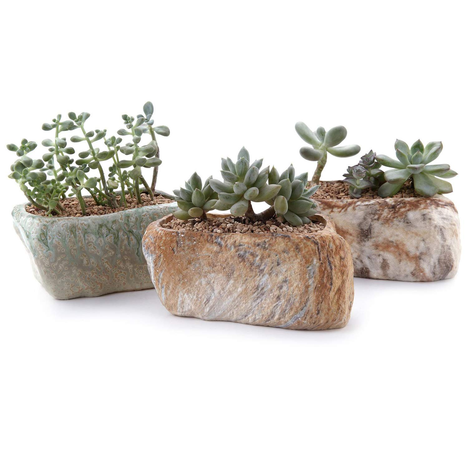 T4U 5.25 Inch Distinctive Stone Shape Sucuulent Cactus Plant Pots Flower Pots Planters Containers Window Boxes with Small Hole Set of 3