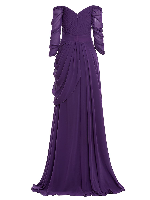 Vestido largo de gasa con hombros descubiertos manga 3/4 para mujer ...