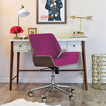 Bon Elle Décor Stainless Steel Base, Adjustable Height, Modern Bentwood Remy  Task Chair Seat Fuchsia