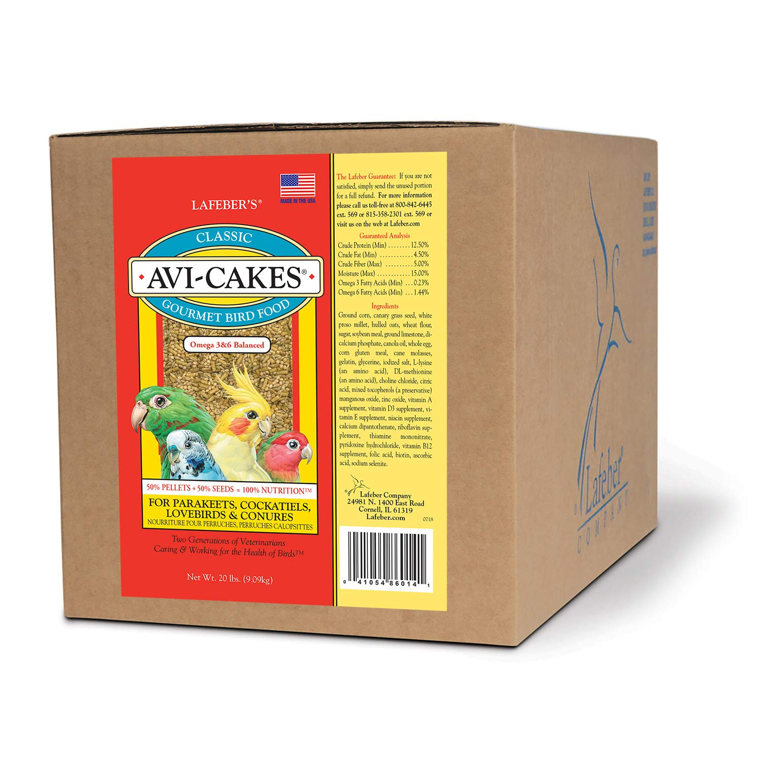 LAFEBER'S Classic Avi-Cakes Pet Bird Food, Made with Non-GMO and Human-Grade Ingredients, for Cockatiels Conures Parakeets (Budgies) Lovebirds, 20 lb by LAFEBER'S