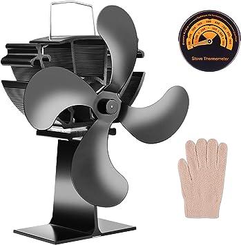 Ventilador de estufa con 4 aspas de funcionamiento silencioso con ...