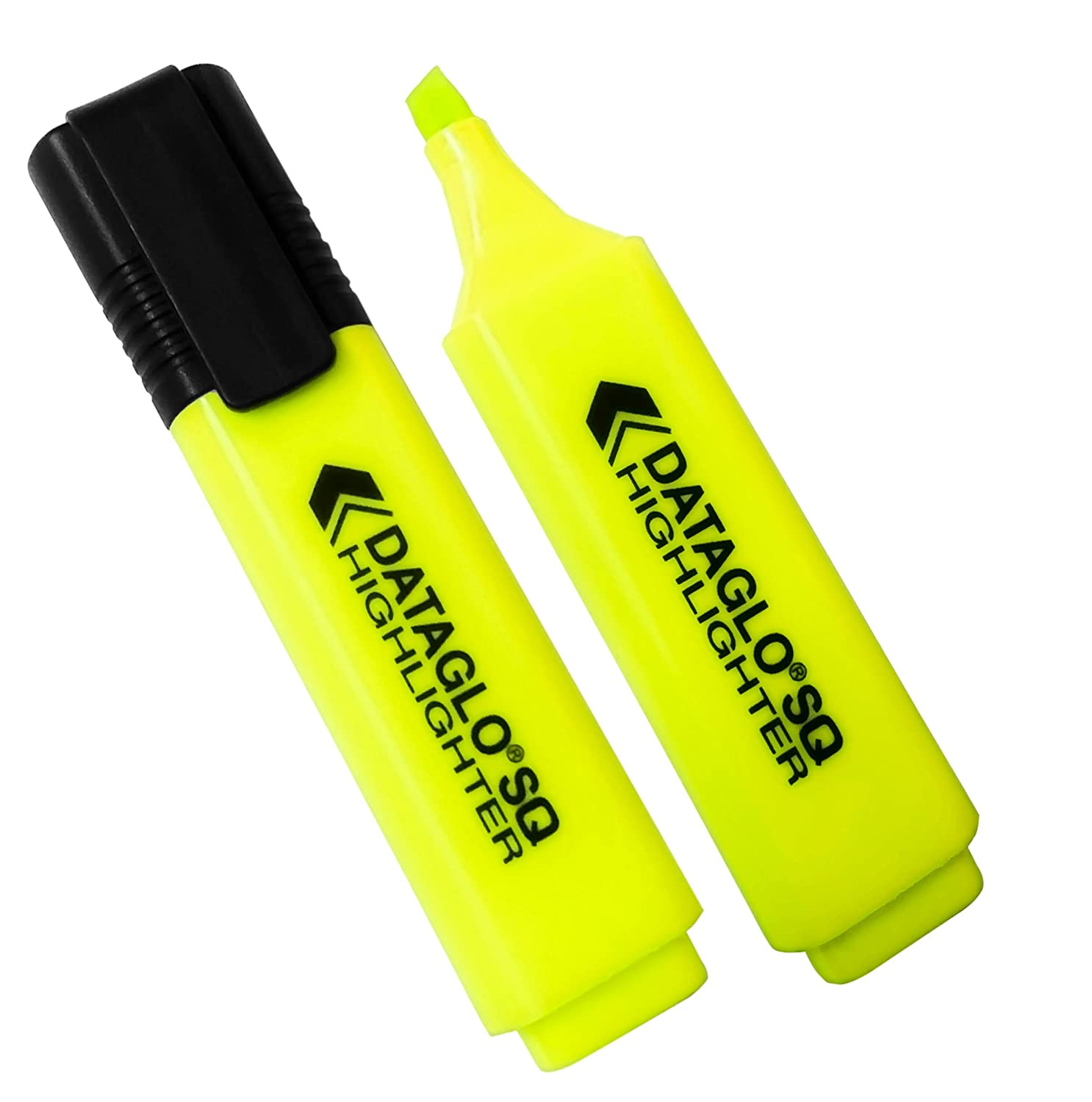 10x Yellow Dataglo SQ Chisel Tip Highlighters. Classpack - Pack of 10. Neon/Fluorescent Yellow Revision Highlighter Pens.