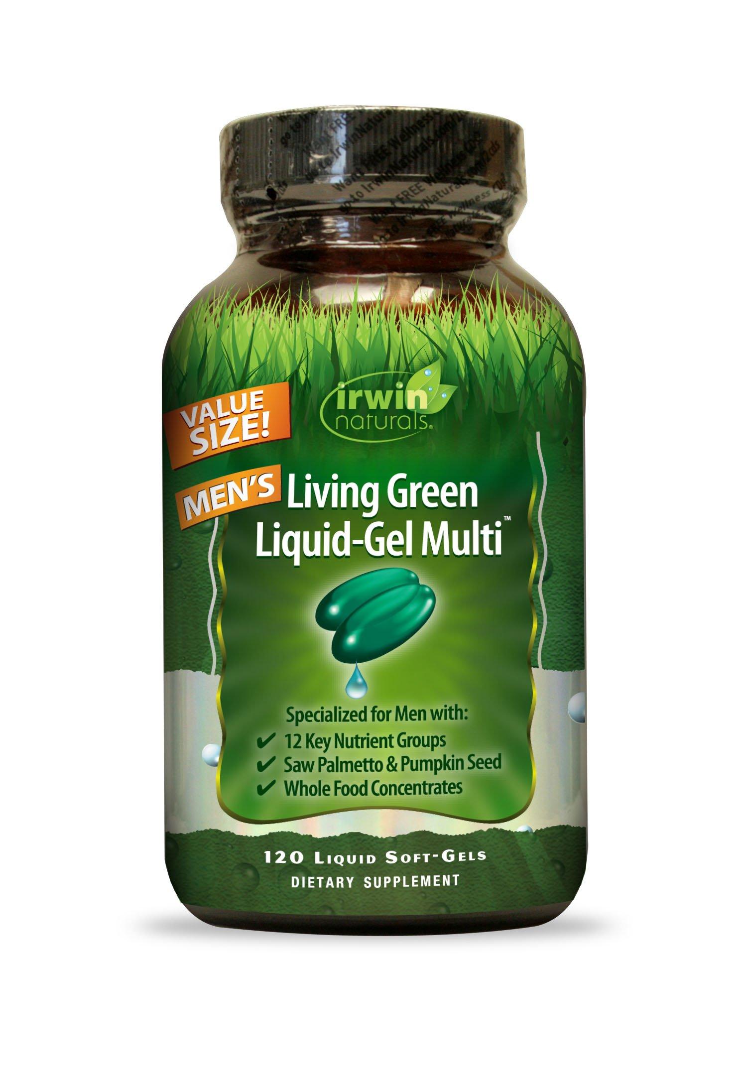 Irwin Naturals Living Green Multi Liquid-Gel for Men, 120 Count