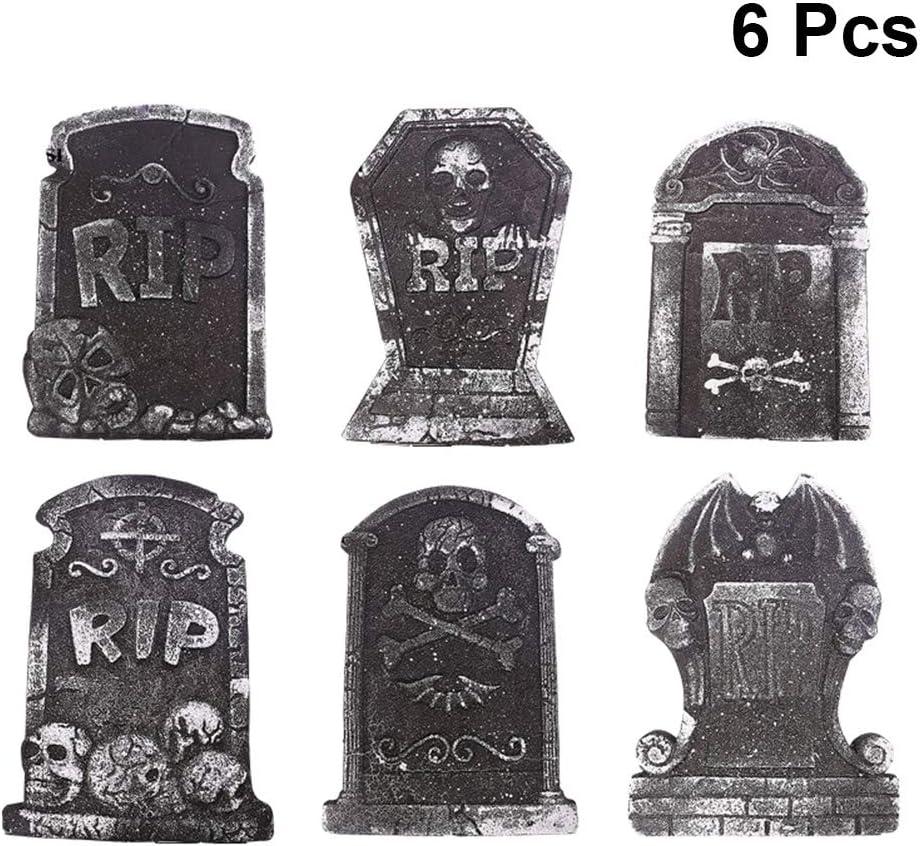 Halloween Decoration Foam Tombstone Ornament Decoration Graveyard Lightweight Foam Tombstone Random Style 6PCS