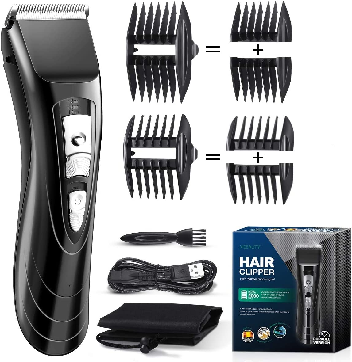 Electric Hair Clippers for Men, Electric Clippers Cordless for Hair Cutting, Professional Quiet Barber Clippers
