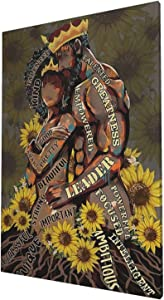 African American Canvas Wall Art Sunflower Black King And Queen Giclee Prints Framed Pictures Contemporary Home Decor For Living Room Bedroom Bathroom Stretched Ready To Hang, 16x24 Inch