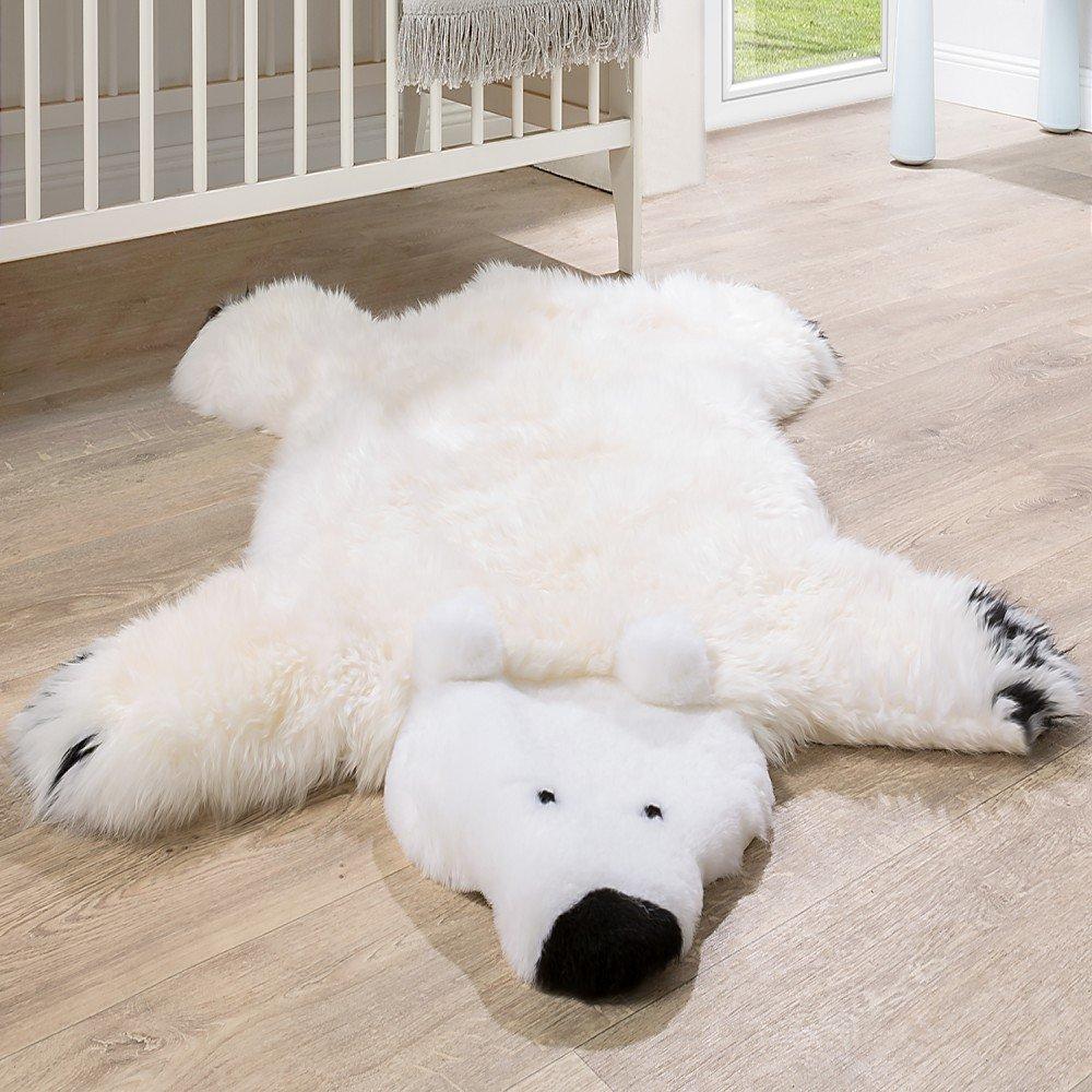 Paco Home Australisches Lammfell Naturfell Spielteppich Kinderzimmer Dekofell Eisbär Weiß, Grösse:130x80 cm
