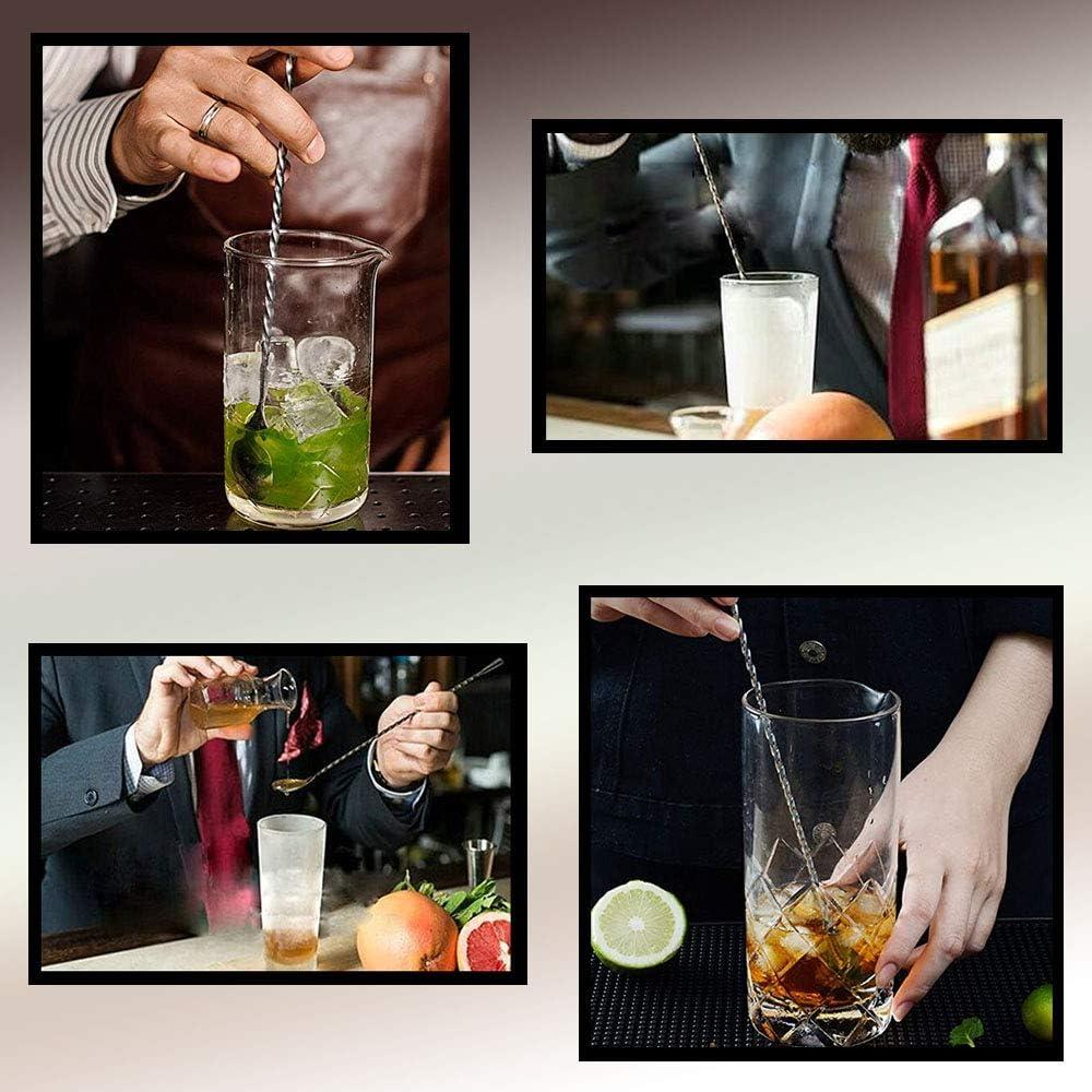 Cocktail-Shaker Edelstahl L/öffel mit langem Griff R/ührl/öffel Bar-R/ührl/öffel Spiral-L/öffel 3 St/ück