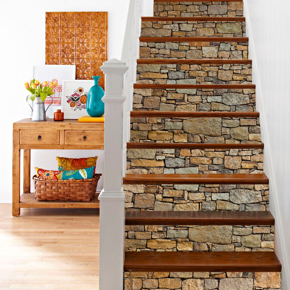 AILEGOU 3D Stair Stickers Decals Brick Staircase Decals Removable Tile Stair Risers Decals Decor Peel and Stick Stairs Bakeplash Decals for Stair 39.3Inch x 7.08Inch x 6Pcs(Brick Stone)