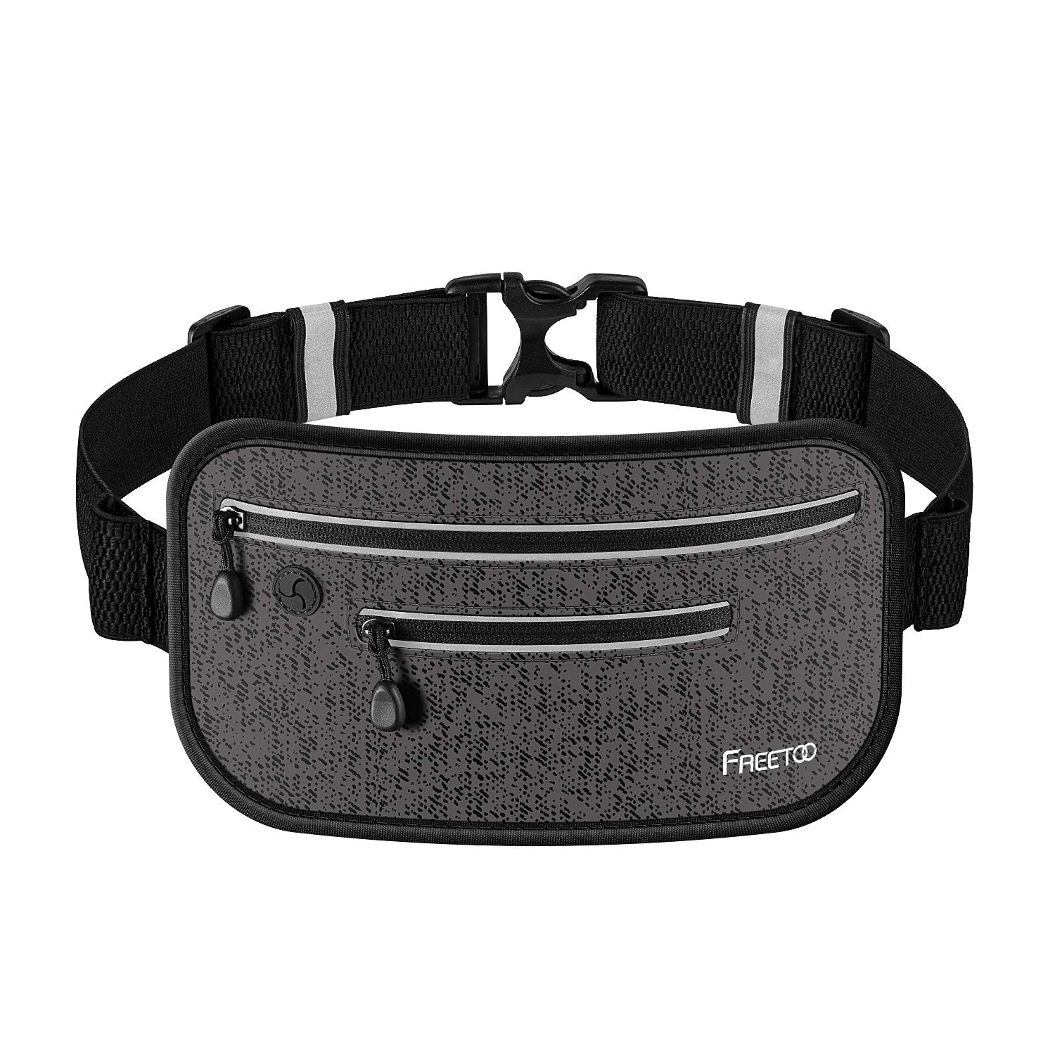 FREETOO Running Belt, Running Waist Pack,Bounce Free,Pretty-Portable,Ultra-Thin and Next-to-Skin,Layered Pockets,Water-Proof,Sweat-Proof,Suitable for Cellphone Below 6 Inches