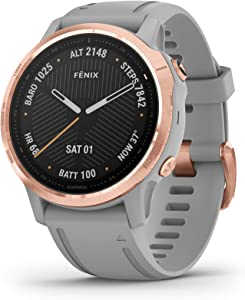 Garmin Fenix 6S Sapphire, Premium Multisport GPS Watch, Smaller-Sized, features Mapping, Music, Grade-Adjusted Pace Guidance and Pulse Ox Sensors, Rose Gold with Gray Band