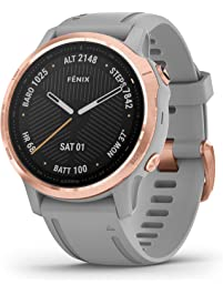 Garmin Fenix 6S Sapphire, Premium Multisport GPS Watch, Smaller-Sized, features Mapping, Music, Grade-Adjusted Pace...