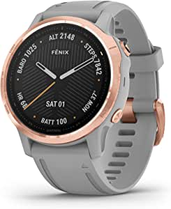 Garmin 010-02159-75 Fenix 6S Sapphire Multi-Sport GPS Smartwatch, Rose Gold/Powder Gray