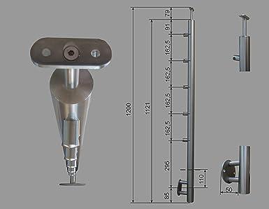 Pmc Acero Inoxidable barandilla postes RR 42,4 5 Soporte V2 ...