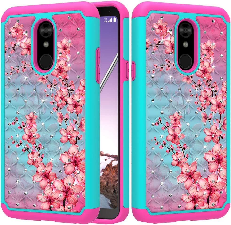 ZASE Design Case for LG STYLO 5, LG Stylo 5 Plus Case Hybrid Dual Layer Protection Jewel Rhinestone Shockproof Slim Hard Shell Sparkly Crystal Bling Diamond Cover (Teal Pink Blossom)