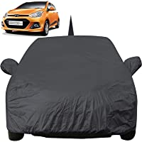 Autofact Car Body Cover for Hyundai Grand I10 with Mirror and Antenna Pocket (Light Weight, Triple Stitched, Heavy Buckle, Bottom Fully Elastic, Grey)