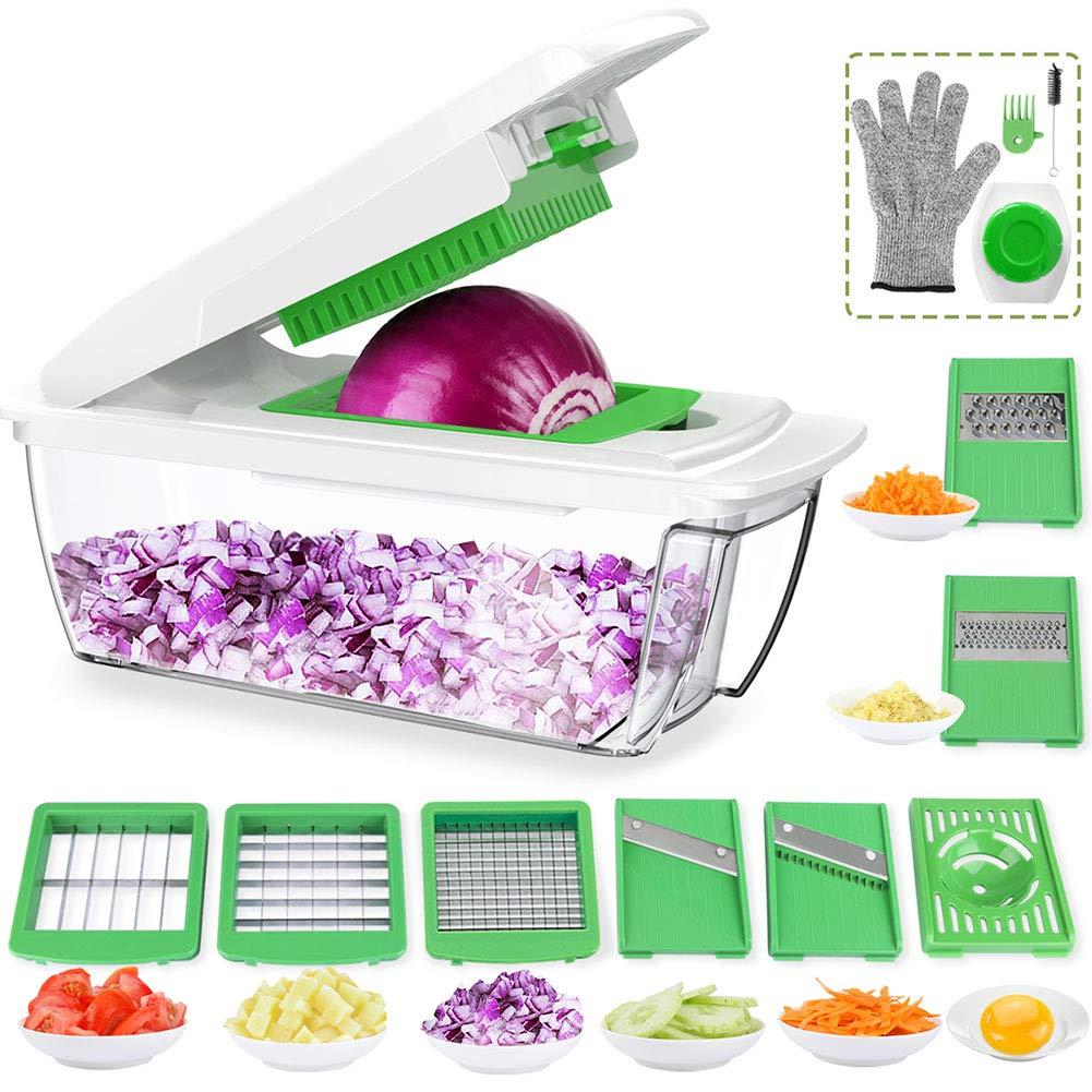 Vegetable Chopper Mandoline Slicer Dicer, Onion Chopper, All in One Vegetable Dicer Slicer Multi Blades Food Cutter (Green) (Green)