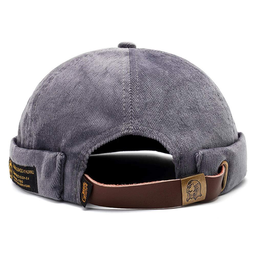 4b5030a5f0 Mens Corduroy Adjustable Solid French Brimless Hat Vogue Retro Skullcap  Sailor Cap