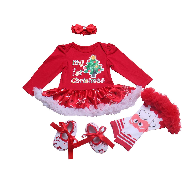 BabyPreg Ni/ñas beb/és Mi Primera Navidad Traje de Santa del Partido del Vestido 4PCS