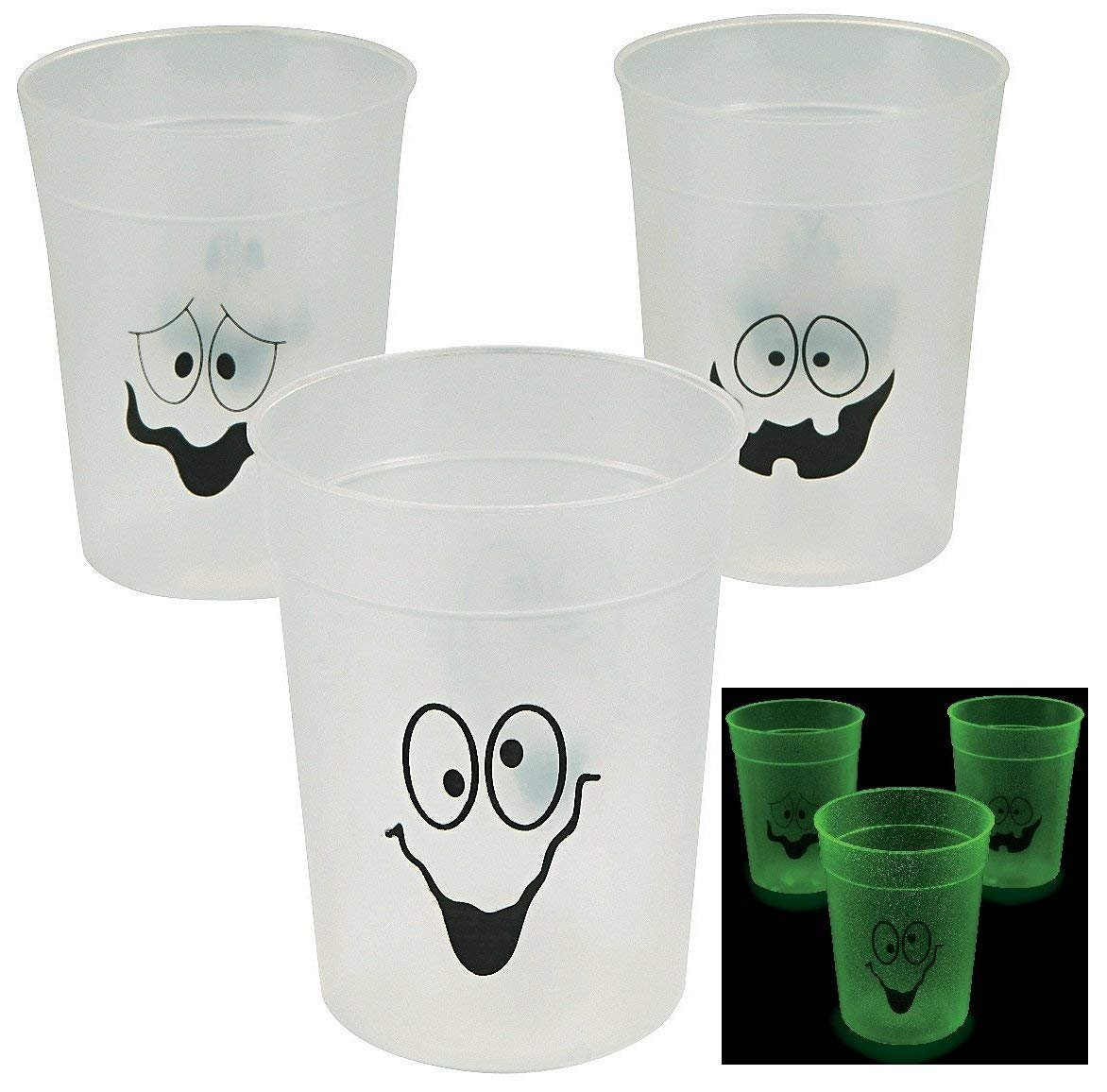 Fun Express Glow in the dark Halloween cups - 4''. 10 Oz. Plastic - 12 pack