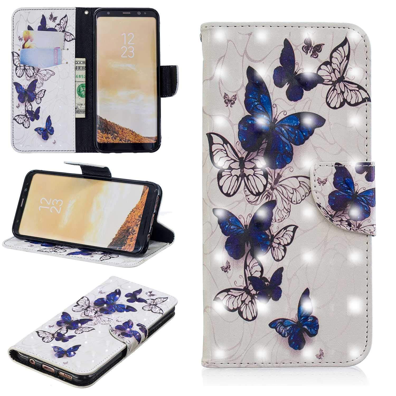 HCUI Compatible avec Galaxy S8 Plus Coque Cuir Étui Wallet Housse, Portefeuille de Protection Coque avec Fonction Support Magnétique Pochette Antichoc Coque pour Galaxy S8 Plus - Papillon.