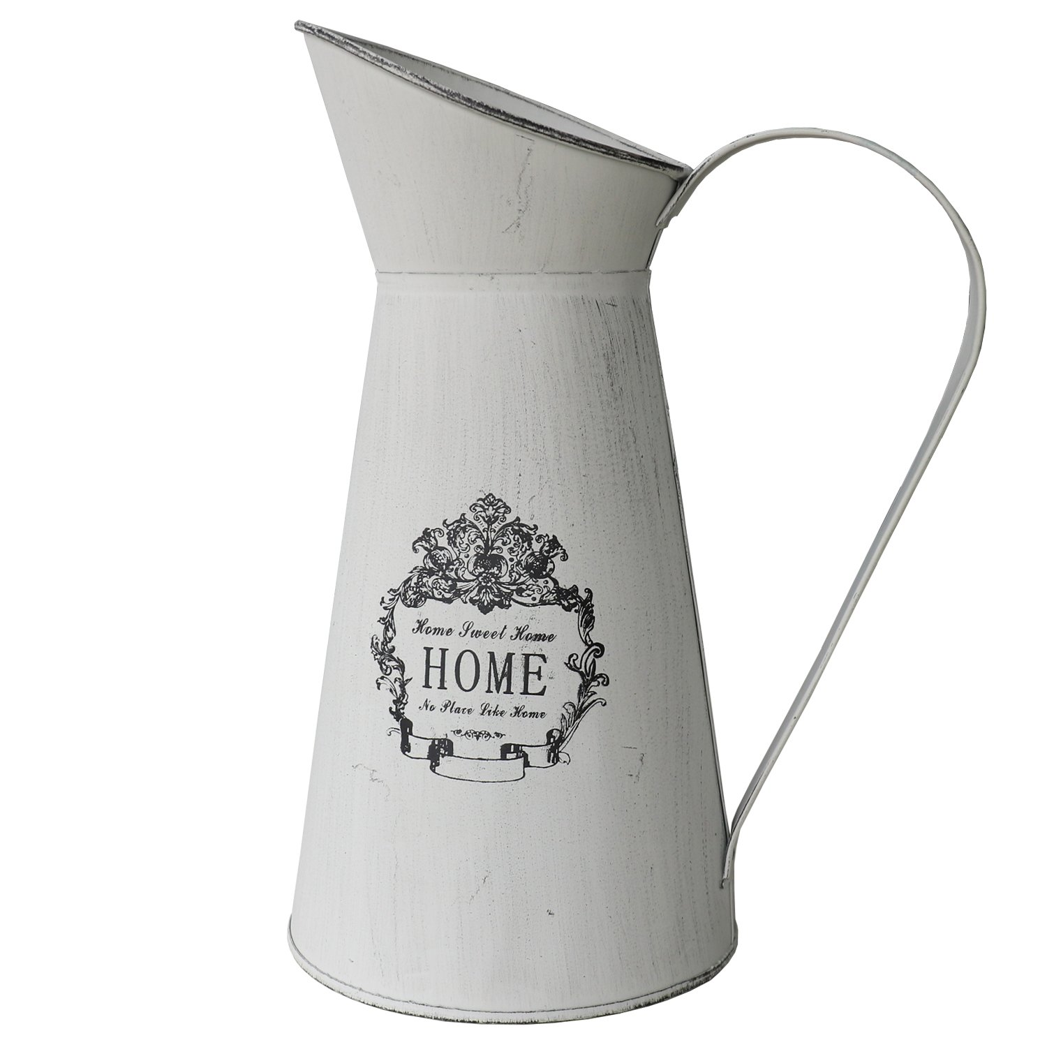 HyFanStr French Style Rustic Pitcher Country Primitive Metal Vase Grey