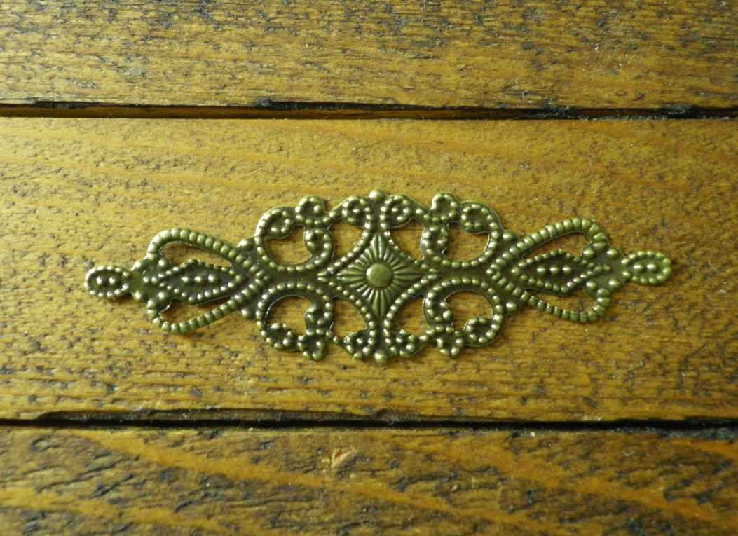 10 x Antique filigree centres 65x20mm Jewelery wooden box embellishment aged C105 Celtic Woods