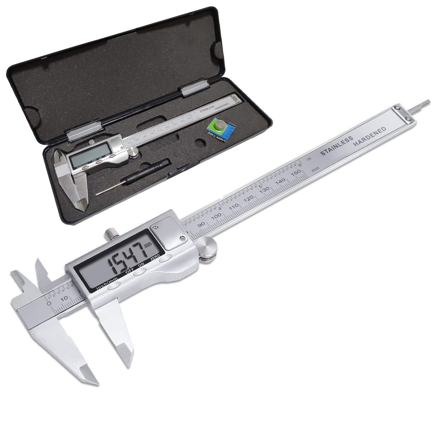 Electronic Digital Vernier Caliper, LOUISWARE Stainless Steel Caliper 150mm/0-6 inch Measuring Tools with Extra-Large LCD Screen, inch/Metric Conversion