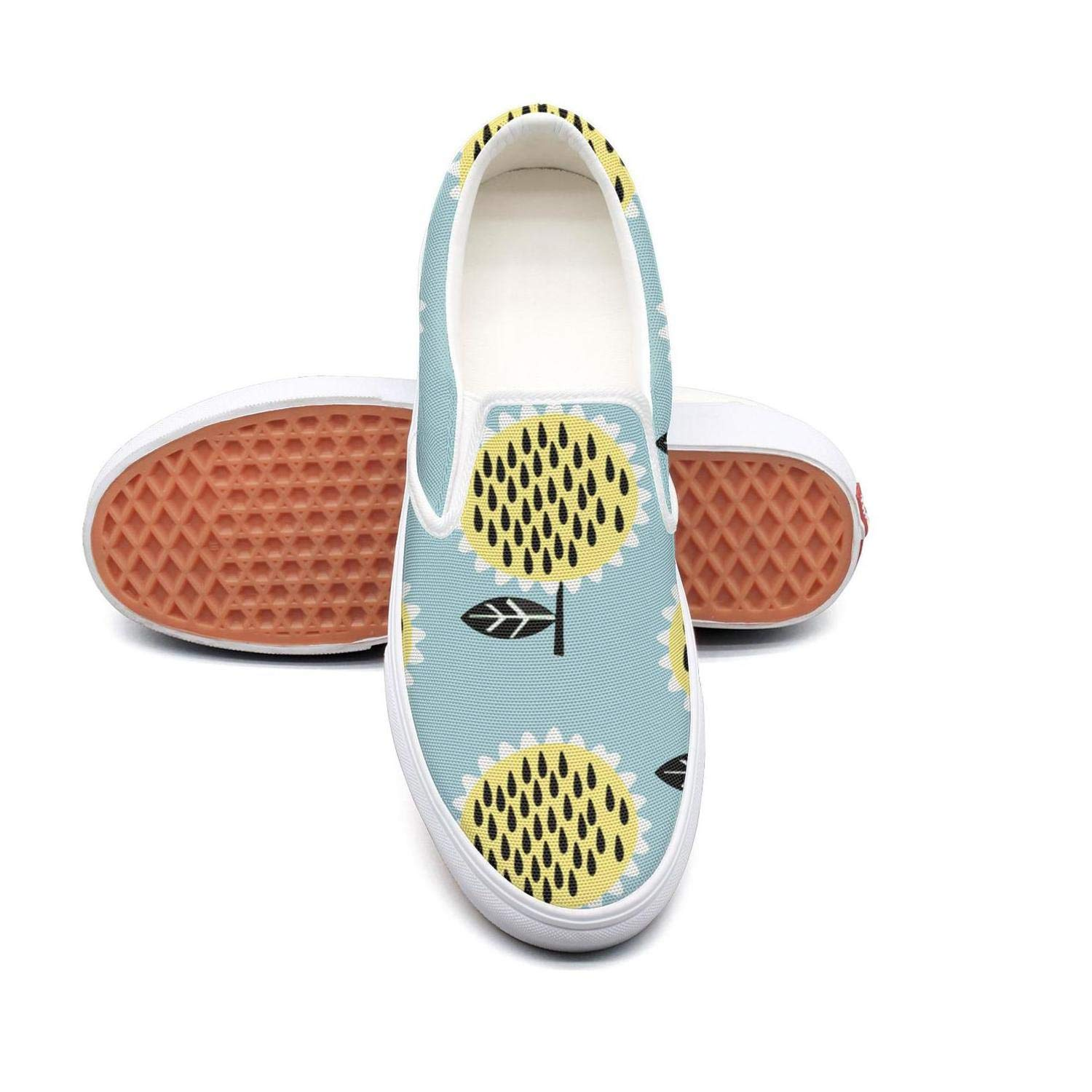Sunflower Floral Pattern Classic Canvas Shoes Slip On Skate Sneakers Women Fashion Print Cool Durable