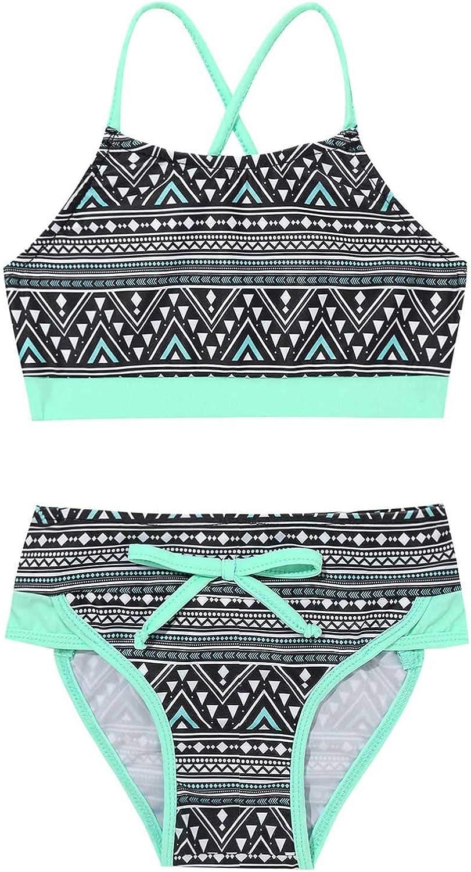 Kids Girls Tankini Swimsuit Swimwear Bathing Suit Set Bikini Tops+Bottoms 2PCS