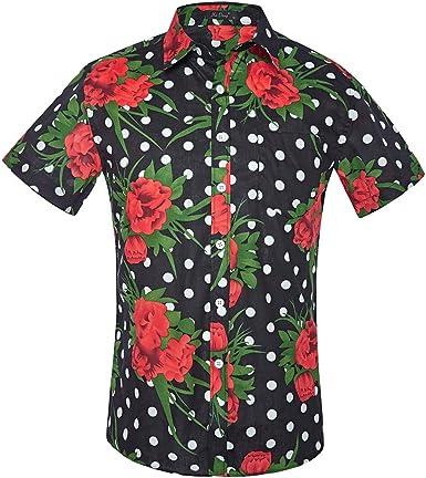 Sencillo Vida Camisa Casual Hombres Estampada Camisa Hombre De Manga Corta Camisas de Hombre Impresión Hawaiana Verano Regular Fit Camisa Clásico Básico Botones para Hombre: Amazon.es: Ropa y accesorios