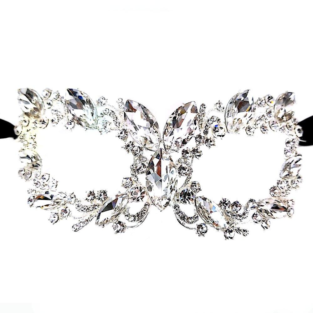 Maru Chunky Clear Crystal Glass, Rhinestone Royal Venetian Masquerade Cat Eye Mask