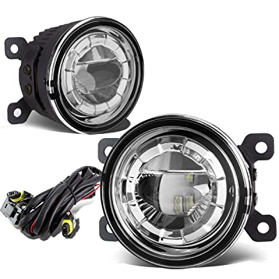 Pair of 3.5 inches Round 2 x 5W LED Projector Bumper Driving Fog Lights + Wiring (Clear Lens): Automotive
