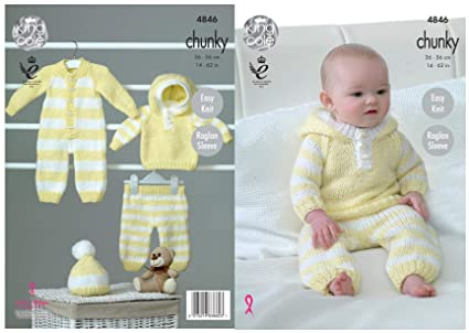 c99234f1553e King Cole Baby Chunky Knitting Pattern Easy Knit Raglan Sleeve All ...