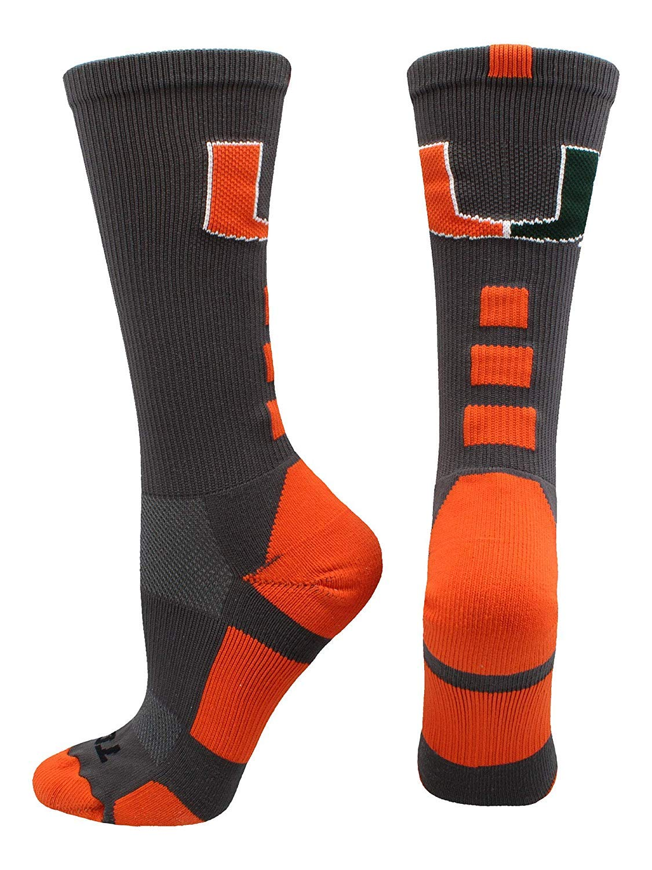 qicaiyang Sports University of Miami Hurricanes Baseline Crew Socks