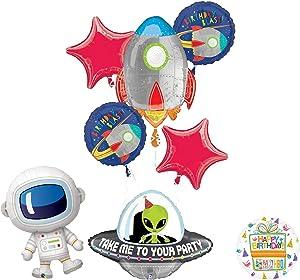 Mayflower Blast Off Rocket Space Alien Adorable Astronaut Birthday Party Supplies Balloon Bouquet Decoration