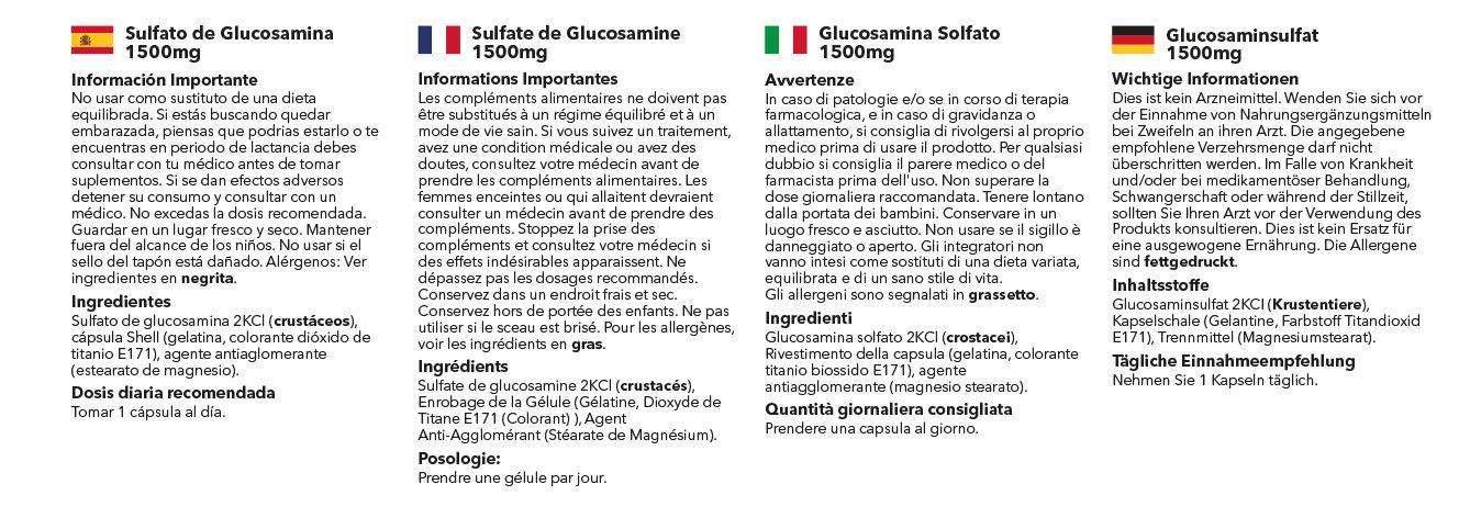 Sulfato de Glucosamina 1500mg - Dos Frascos de 120 cápsulas - Hasta 8 meses de suministro -Para el cuidado de las articulaciones - SimplySupplements: ...