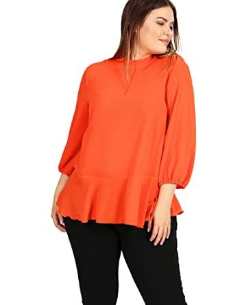 c755c46c800 Lovedrobe GB Women s Plus Size Orange Button Back Peplum Top  Amazon ...