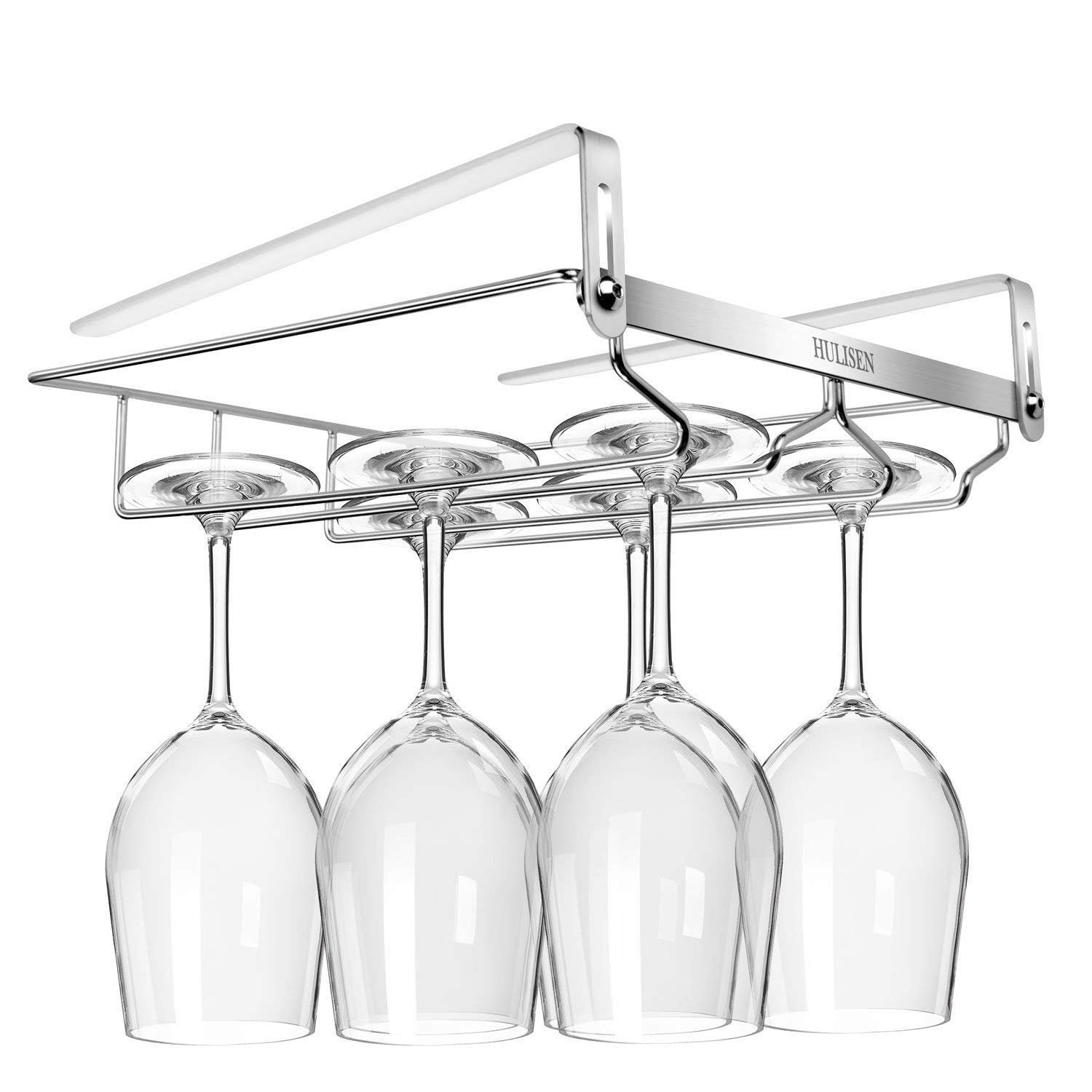Improved Version Adjustable Wine Glass Holder, HULISEN No Drilling Required Stemware Rack, 2 Rows Stainless Steel Under Cabinet Wine Glass Rack