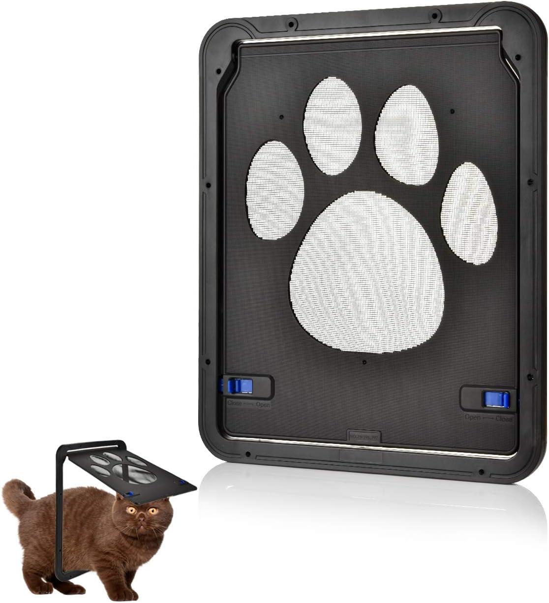 OIZEN Puerta para Gato Gateras para Gato Puerta para con Gato Cierre Magnético 29 x 24cm Puerta para Mascota para Gatos y Perros Pequeños