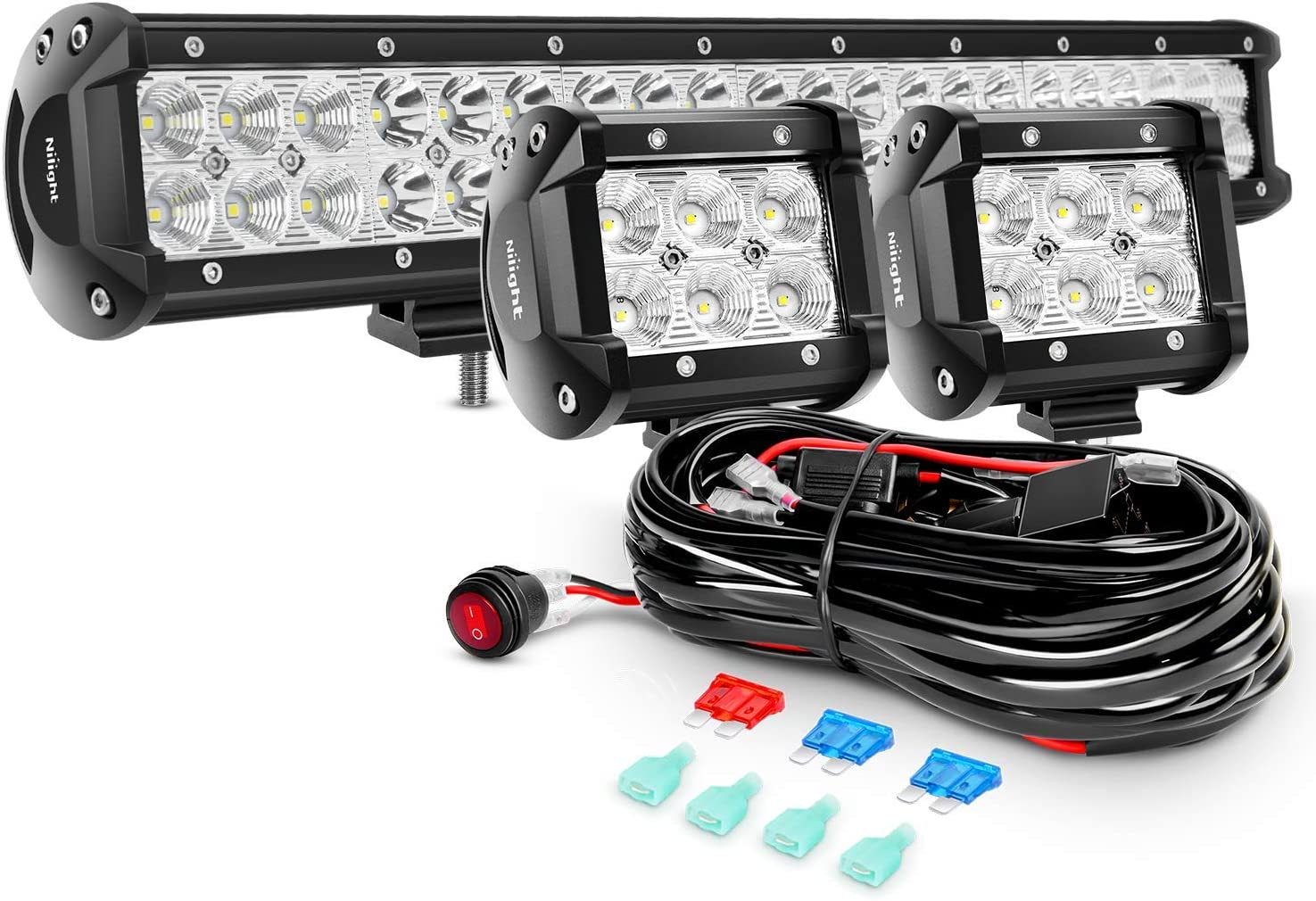 Nilight 20Inch 126W Spot Flood Combo Led Off Road Led Light Bar 2PCS 18w 4Inch Flood LED Pods With 16AWG Wiring Harness Kit-2 Lead, 2 Years Warranty