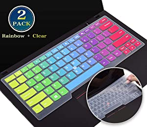 2 Pack Keyboard Cover Skin for Lenovo Thinkpad T490 T490s T495 T480 T470 T460 A475, Thinkpad x 1 Carbon 7th 2020, 14 Inch Lenovo Thinkpad x1 Yoga 3rd Gen 2019 Keyboard Protector(Rainbow+Clear)