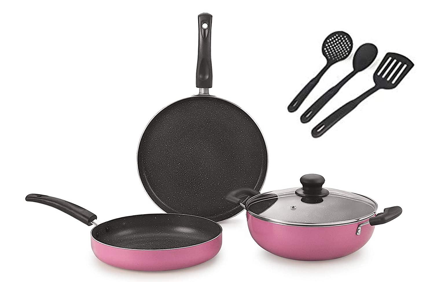 Nirlon Orchid Granite Cookware Combo Gift Set, Pink, 7 Piece