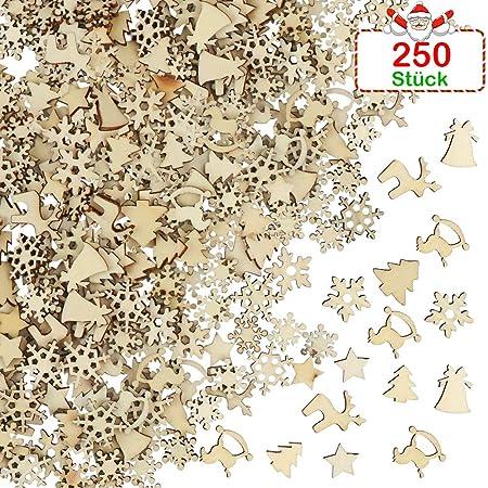 Fhzytg 250 Stück Holzsterne Zum Basteln Holz Deko Basteln Holz Deko Holzsterne Weihnachten Deko Holz Holzsterne Mini Holz Chip Basteln Deko