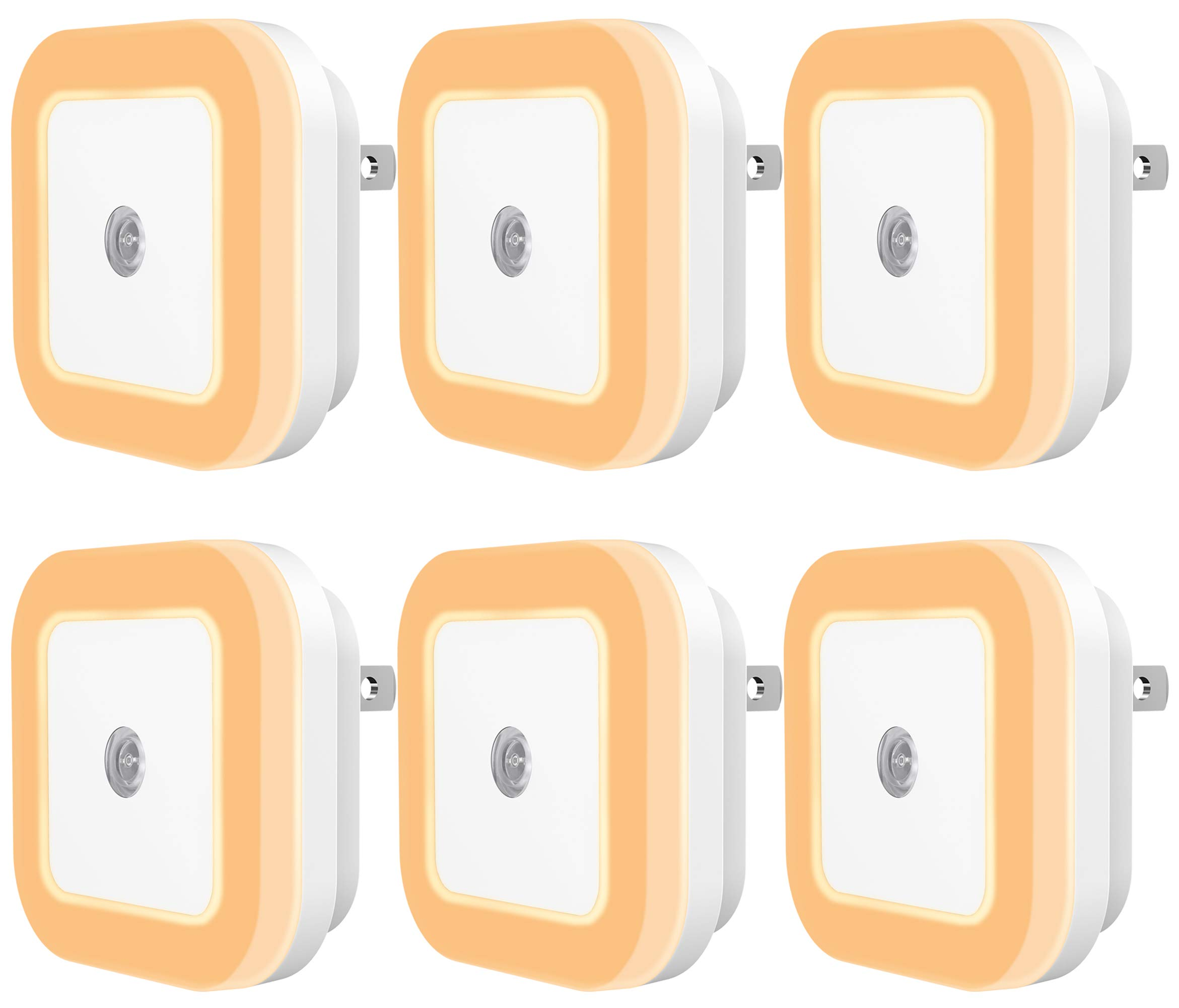 Sycees Plug-in LED Night Light Lamp with Dusk-to-Dawn Sensor for Bedroom, Bathroom, Kitchen, Hallway, Stairs, Warm White, 6-Pack by SYCEES