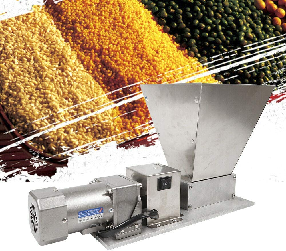 110V 40W Mill Grinder, Electric Grain Mill Barley Grinder Malt Crusher Roller Grain Mill Grain Grinder Home Brew Mill Food Grade Stainless Steel Cereal Beans Mill (Silver)