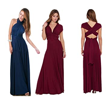 Women s Elegant Halter Tops Multi Way Sexy Sleeveless Bandage Wedding Dress  Long Maxi Dress Convertible Wrap Cocktail Gown Dress for Prom Ball Evening  Party ... 2aa912d8bcf3