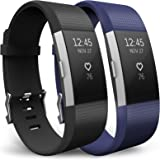 Yousave Accessories Fitbit Charge 2 Strap Multipack - Replacement Silicone Sport Watch Bands for the Fitbit Charge 2 - Two Pack - Black / Blue