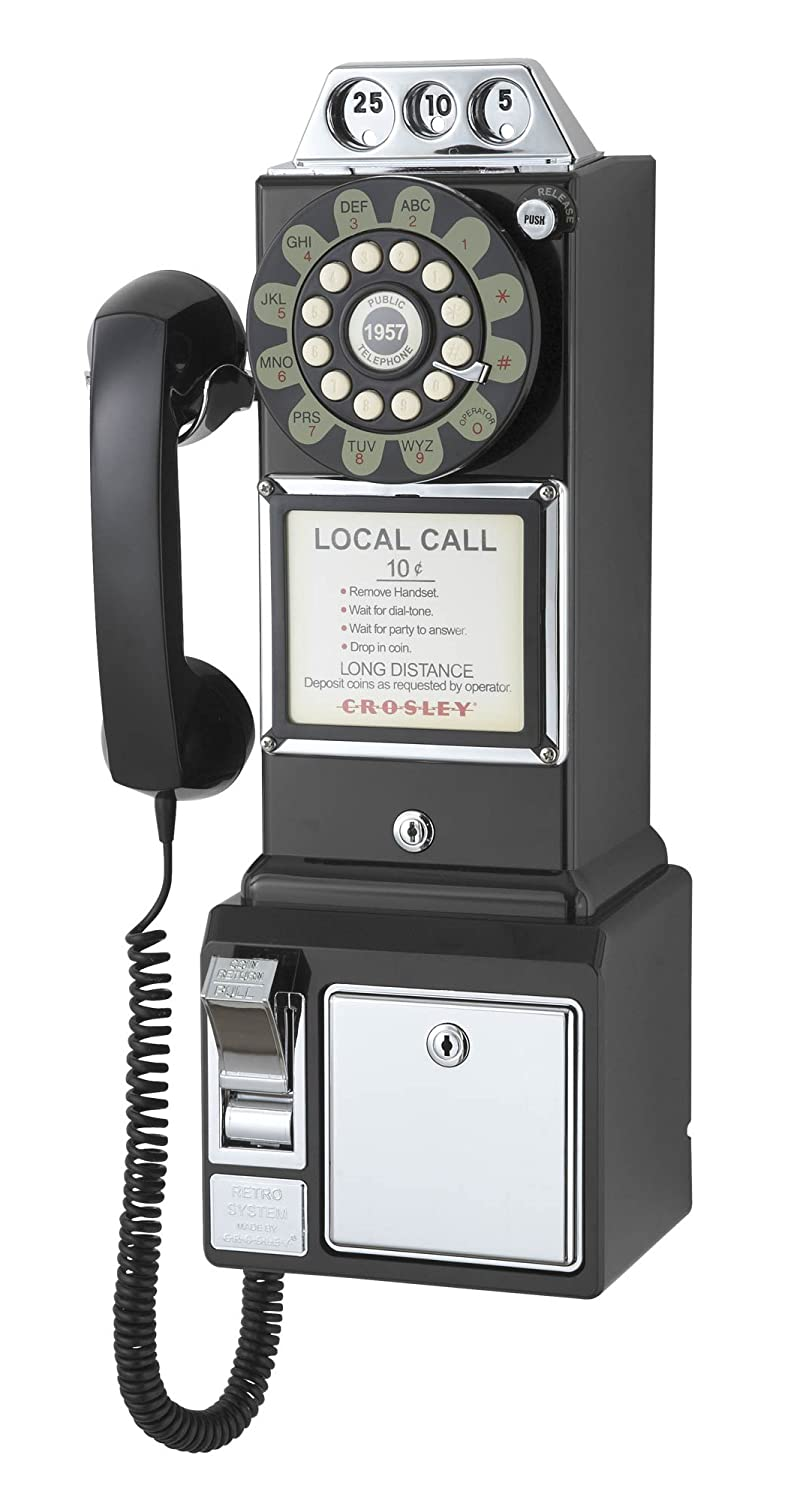1950's Payphone with Push Button Technology, Black